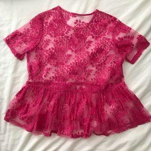 ASOS hot pink sheer babydoll top